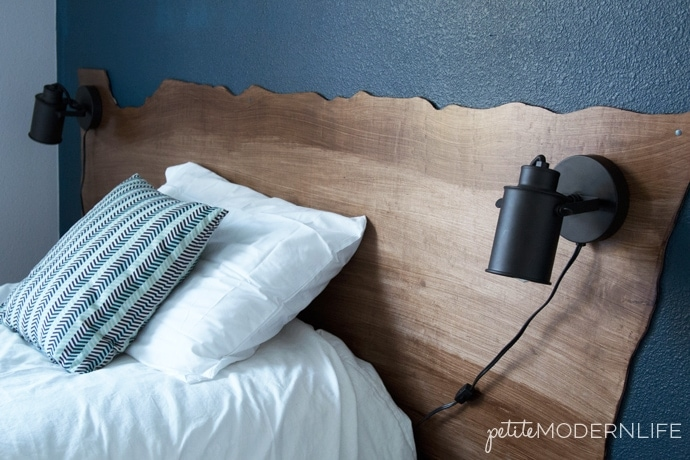 This DIY Live Edge Headboard is so inexpensive and easy to make!
